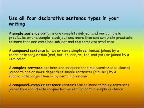 four declarative sentence types