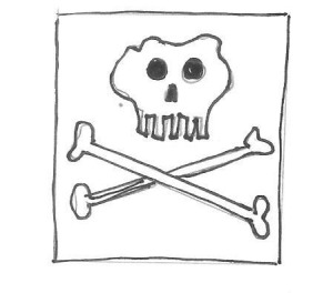 Cartoon of a skull and crossbones with the words, Lethal:  deadly, toxic, fatal