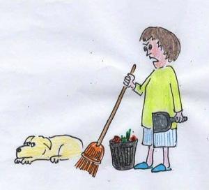 The woman yells at the dog.