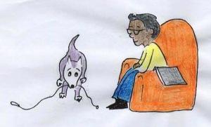 dog brings man leash