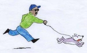 man runs with dog