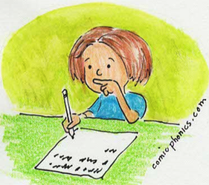 girl writing and thinking
