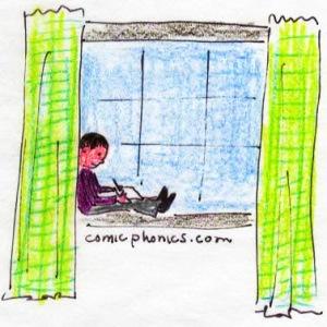 boy writing on a window bench