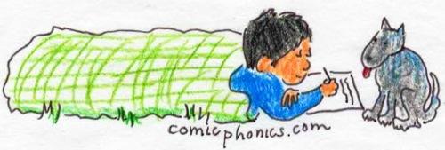 child writing in sleeping bag