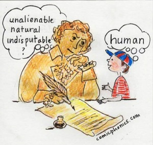 Thomas Jefferson thinking about words to use in Declaration of Independence, with a modern-day child suggesting a word