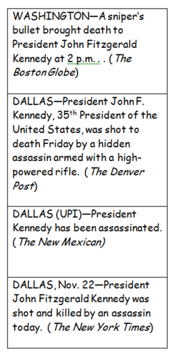 news reports JFK's death