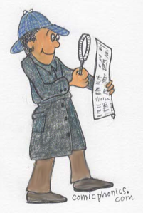 Detective with a magnifying glass inspecting a newspaper.